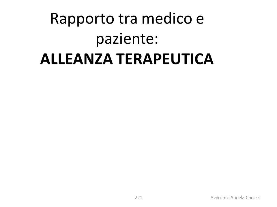 Rapporto tra medico e paziente: ALLEANZA TERAPEUTICA