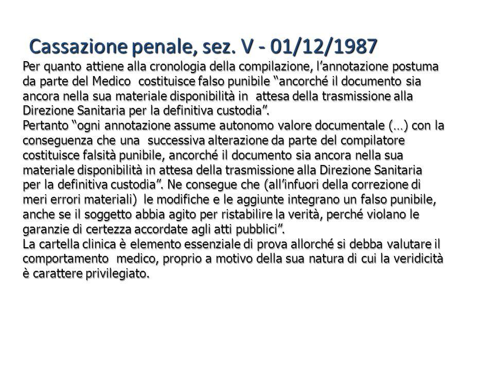 Cassazione penale, sez. V - 01/12/1987