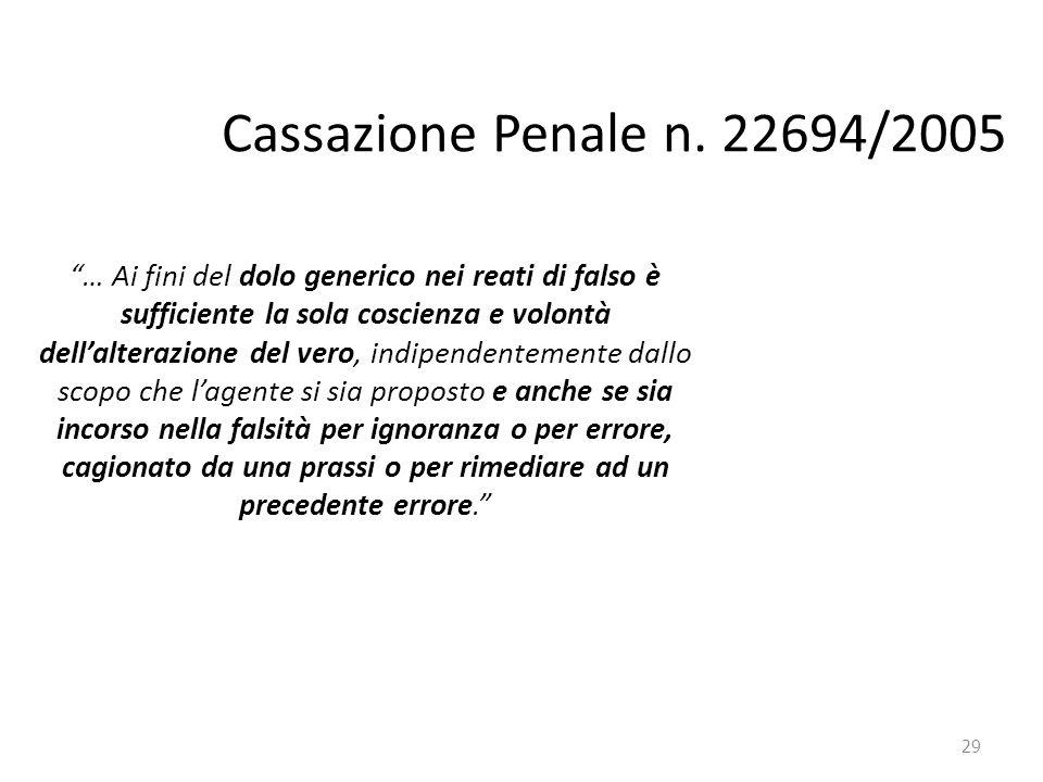 Cassazione Penale n. 22694/2005 … Ai fini del dolo generico nei reati di falso è. sufficiente la sola coscienza e volontà.