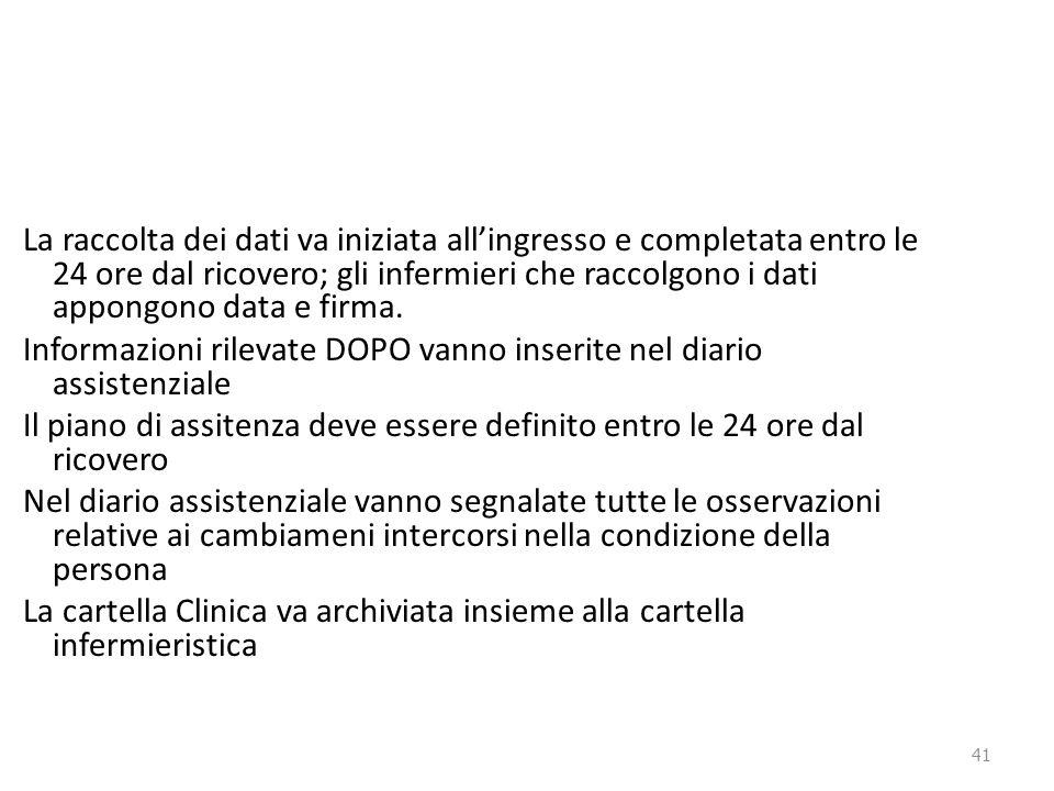 La raccolta dei dati va iniziata all'ingresso e completata entro le 24 ore dal ricovero; gli infermieri che raccolgono i dati appongono data e firma.