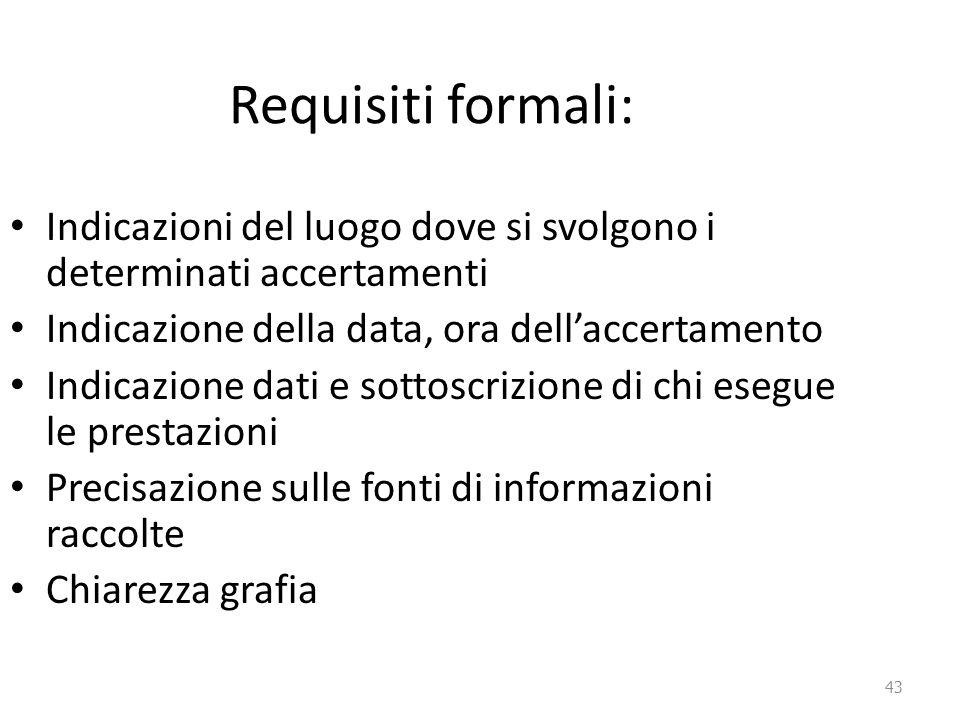 Requisiti formali: Indicazioni del luogo dove si svolgono i determinati accertamenti. Indicazione della data, ora dell'accertamento.