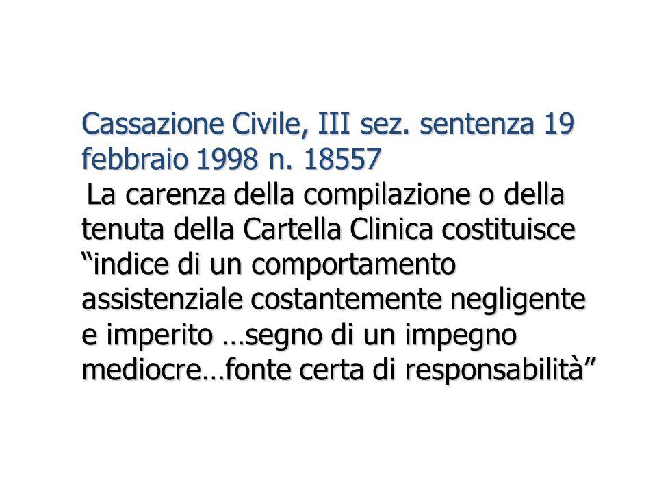 Cassazione Civile, III sez. sentenza 19 febbraio 1998 n. 18557