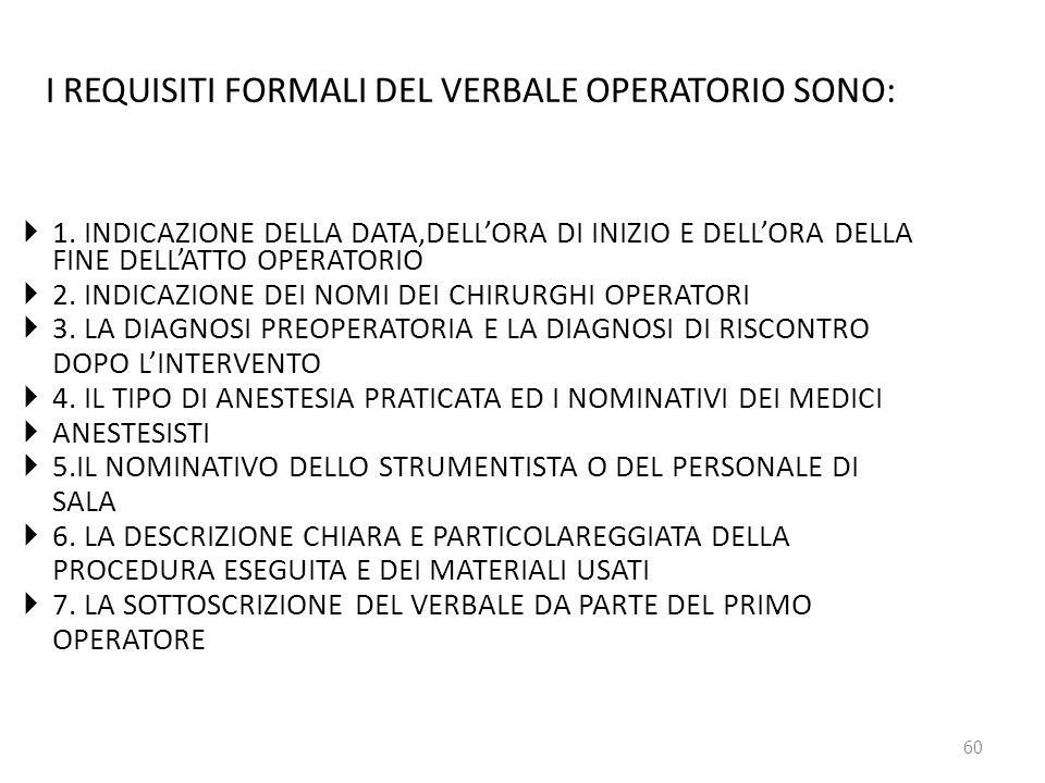 I REQUISITI FORMALI DEL VERBALE OPERATORIO SONO: