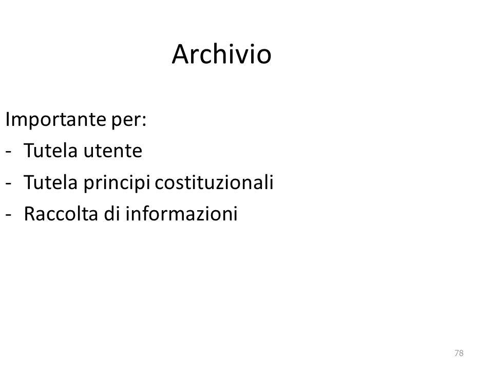 Archivio Importante per: Tutela utente Tutela principi costituzionali
