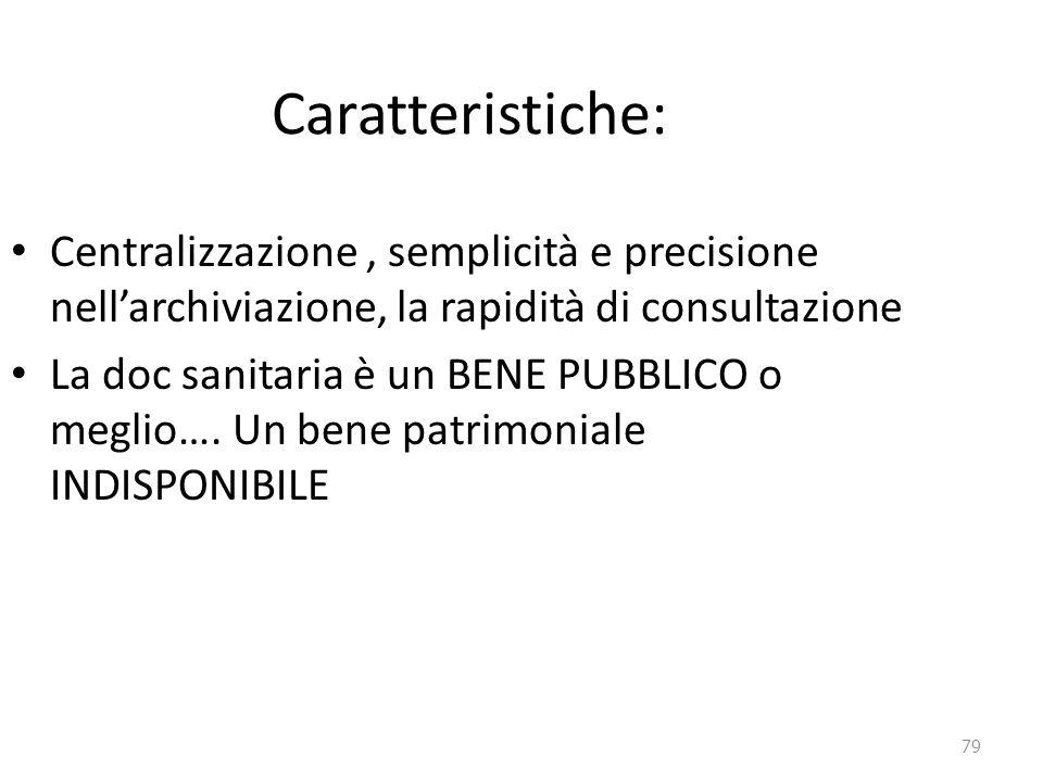 Caratteristiche: Centralizzazione , semplicità e precisione nell'archiviazione, la rapidità di consultazione.