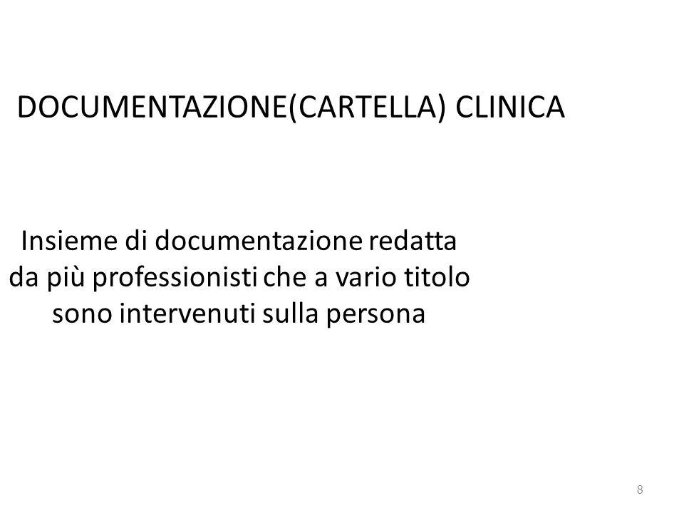 DOCUMENTAZIONE(CARTELLA) CLINICA