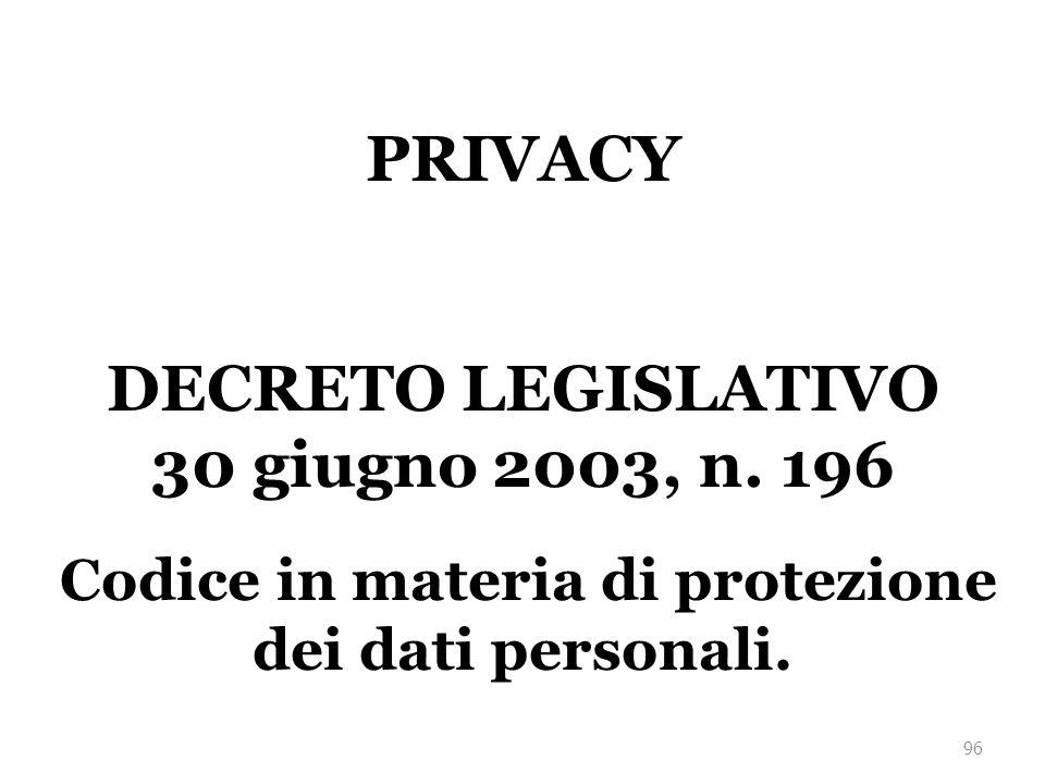 Codice in materia di protezione dei dati personali.