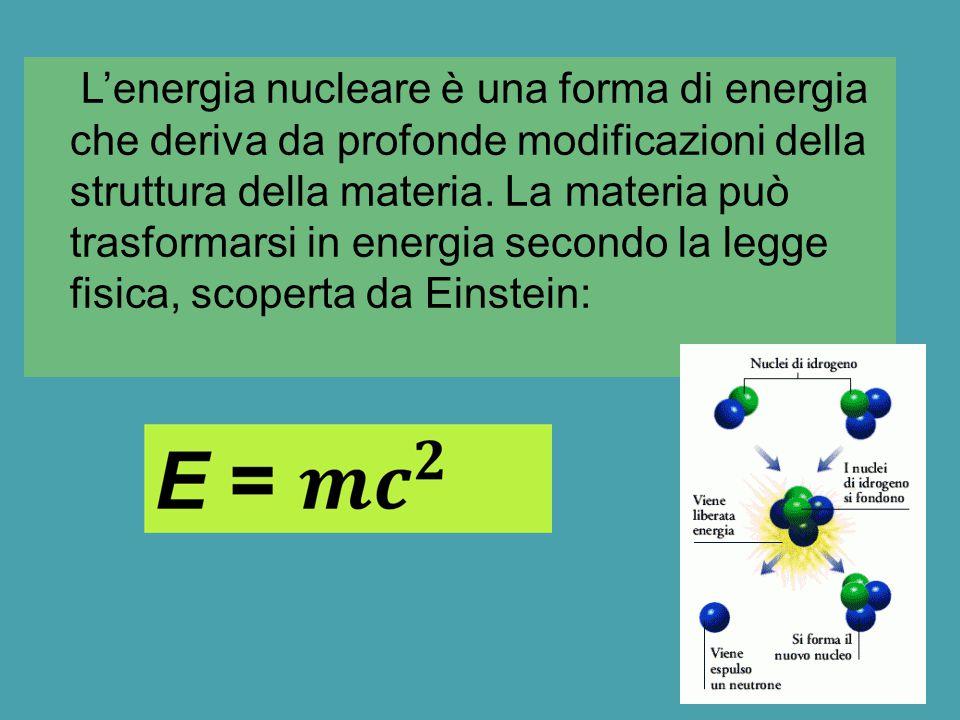 L'energia nucleare è una forma di energia che deriva da profonde modificazioni della struttura della materia.