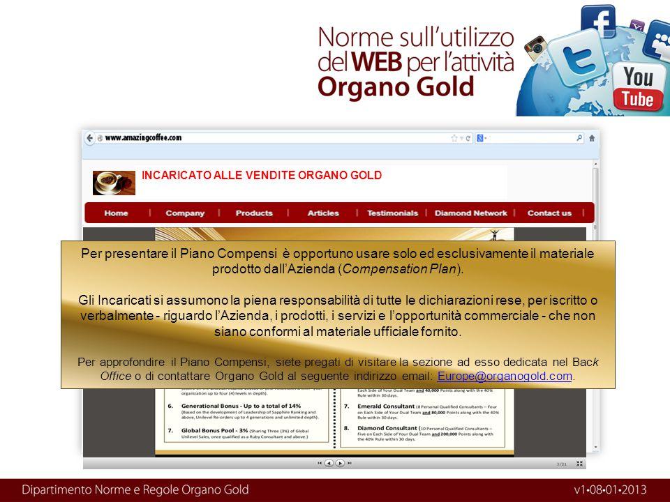 INCARICATO ALLE VENDITE ORGANO GOLD
