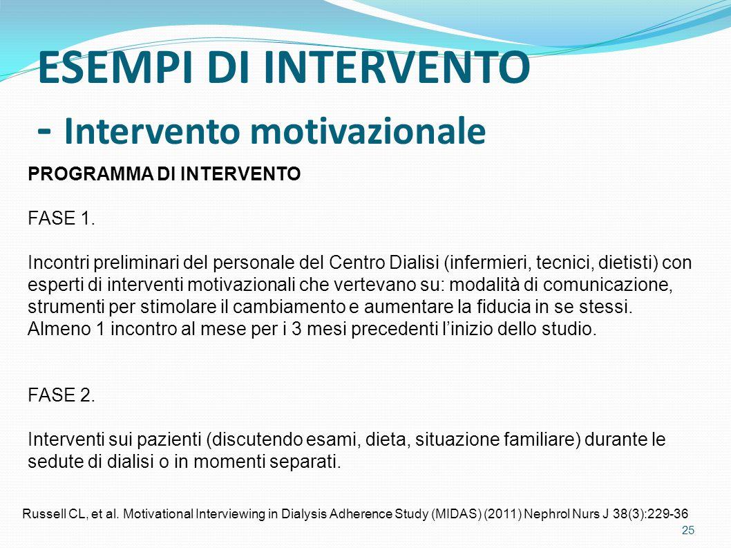 ESEMPI DI INTERVENTO - Intervento motivazionale