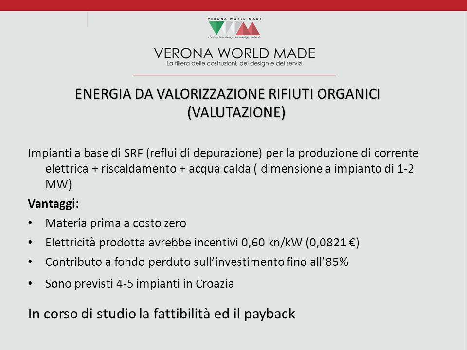ENERGIA DA VALORIZZAZIONE RIFIUTI ORGANICI (VALUTAZIONE)