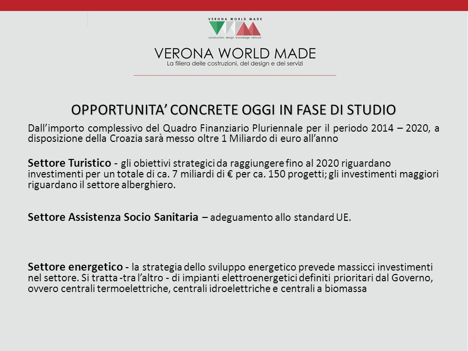 OPPORTUNITA' CONCRETE OGGI IN FASE DI STUDIO