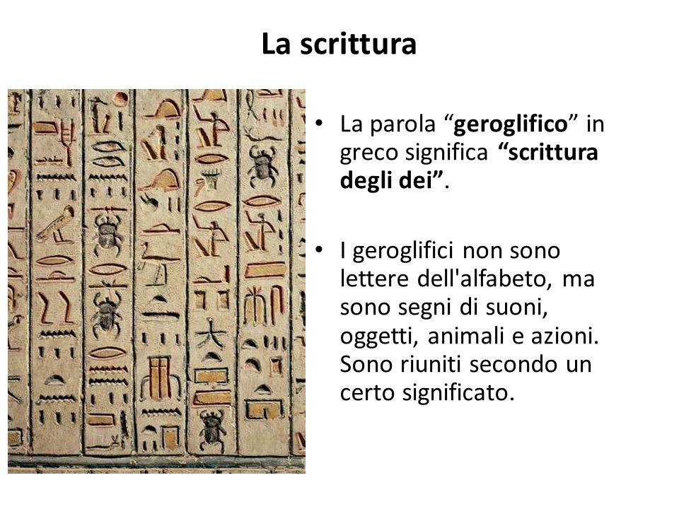 La scrittura La parola geroglifico in greco significa scrittura degli dei .