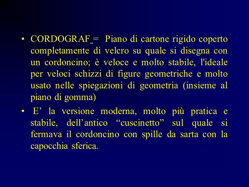 CORDOGRAF = Piano di cartone rigido coperto completamente di velcro su quale si disegna con un cordoncino; è veloce e molto stabile, l ideale per veloci schizzi di figure geometriche e molto usato nelle spiegazioni di geometria (insieme al piano di gomma)