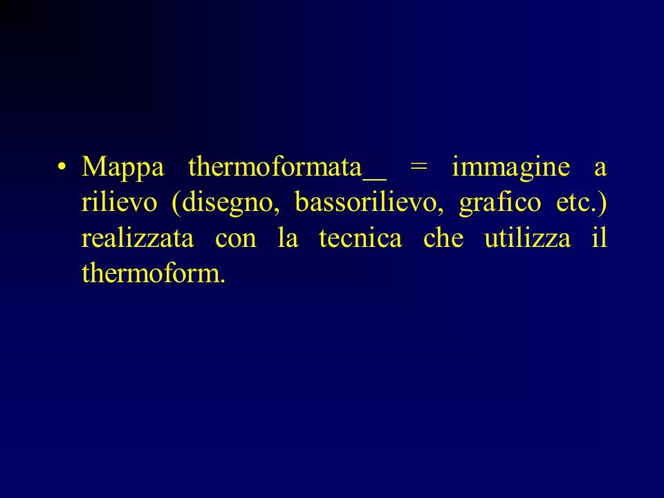 Mappa thermoformata = immagine a rilievo (disegno, bassorilievo, grafico etc.) realizzata con la tecnica che utilizza il thermoform.