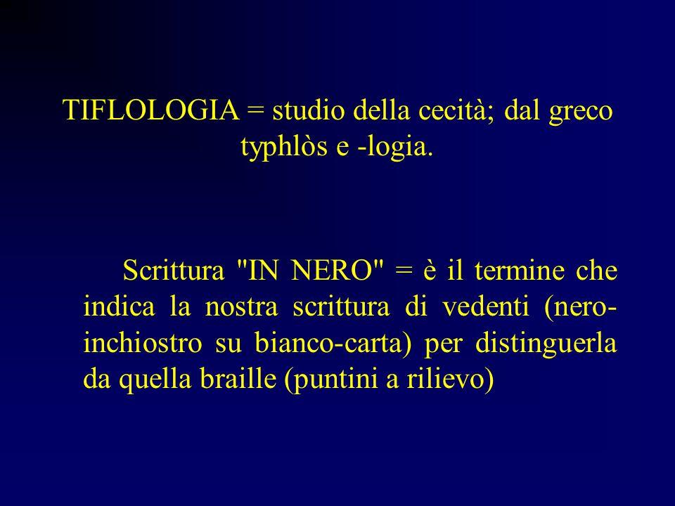 TIFLOLOGIA = studio della cecità; dal greco typhlòs e -logia.