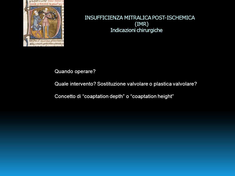 INSUFFICIENZA MITRALICA POST-ISCHEMICA (IMR) Indicazioni chirurgiche