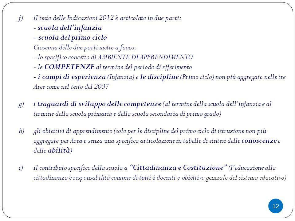 il testo delle Indicazioni 2012 è articolato in due parti: