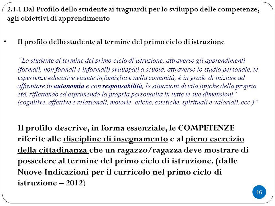 2.1.1 Dal Profilo dello studente ai traguardi per lo sviluppo delle competenze, agli obiettivi di apprendimento