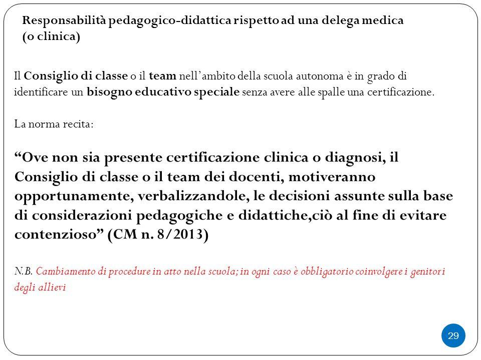 Responsabilità pedagogico-didattica rispetto ad una delega medica