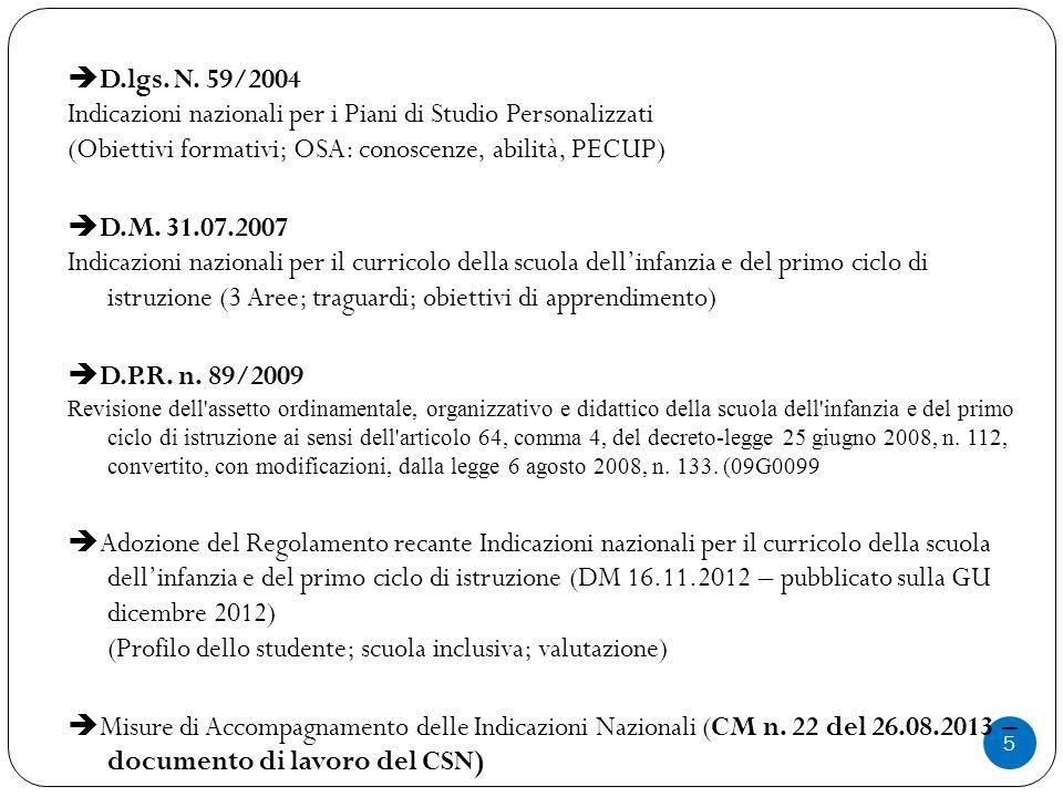 Indicazioni nazionali per i Piani di Studio Personalizzati