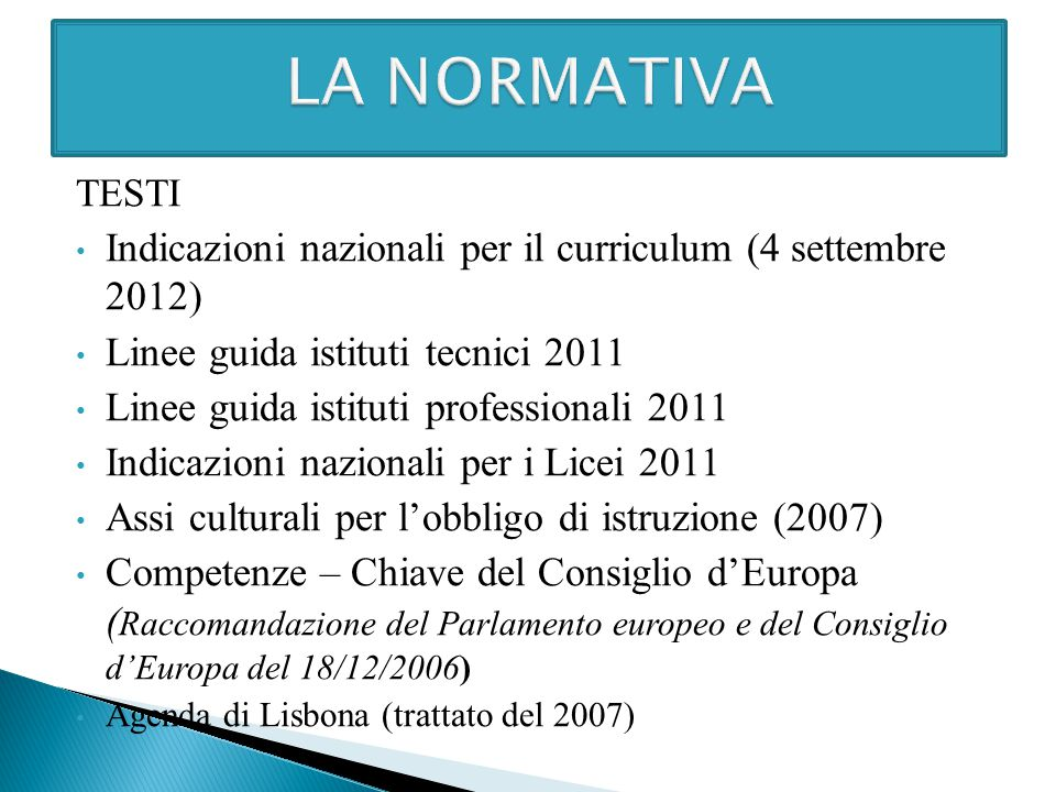 LA NORMATIVA TESTI. Indicazioni nazionali per il curriculum (4 settembre 2012) Linee guida istituti tecnici 2011.
