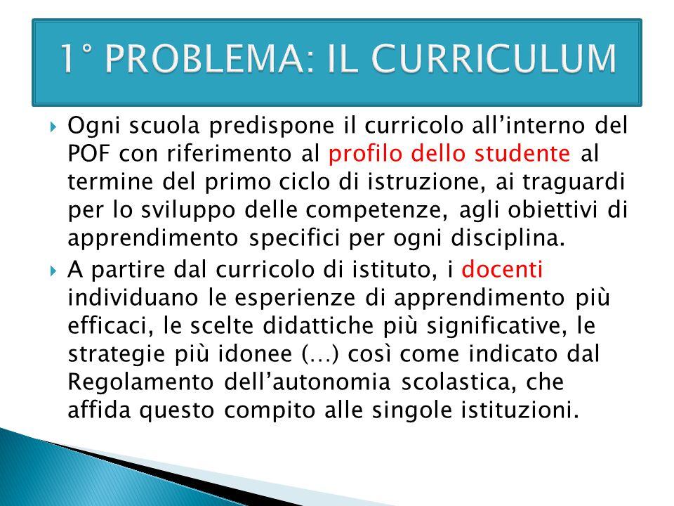 1° PROBLEMA: IL CURRICULUM