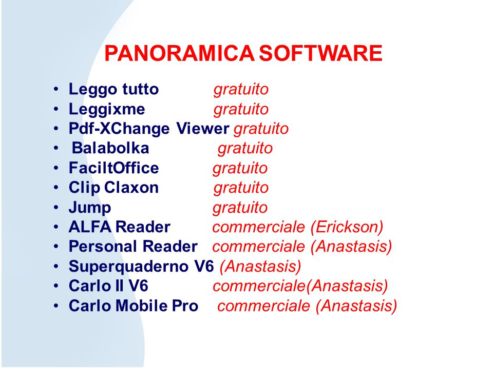PANORAMICA SOFTWARE Leggo tutto gratuito Leggixme gratuito