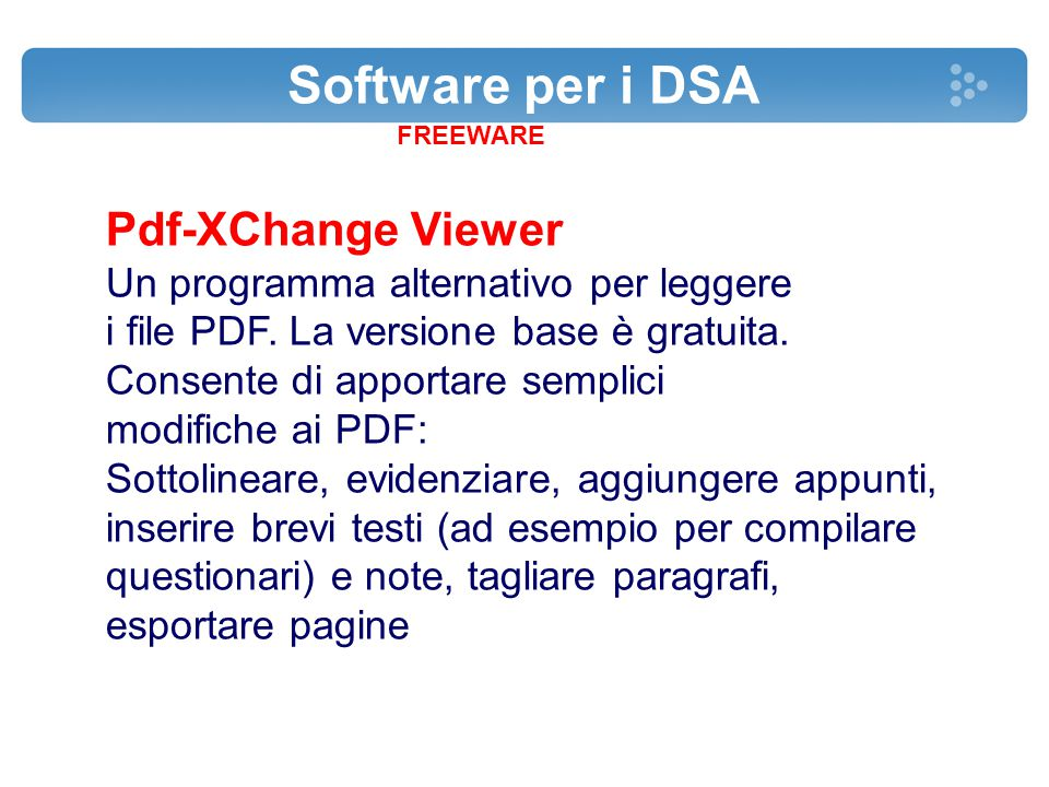 Software per i DSA Pdf-XChange Viewer
