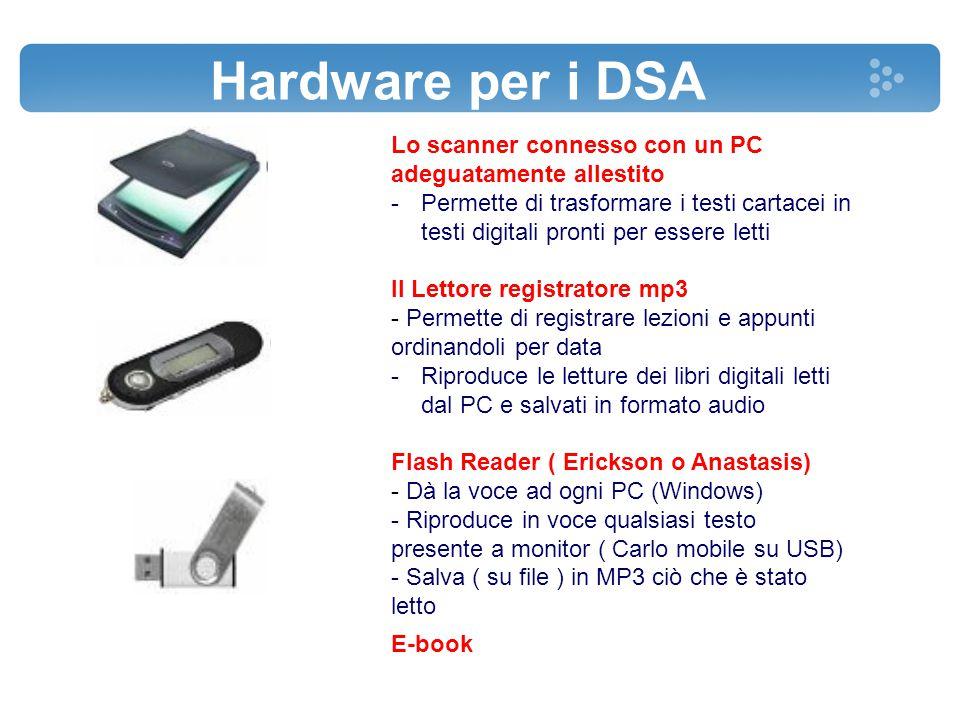 Hardware per i DSA Lo scanner connesso con un PC adeguatamente allestito.