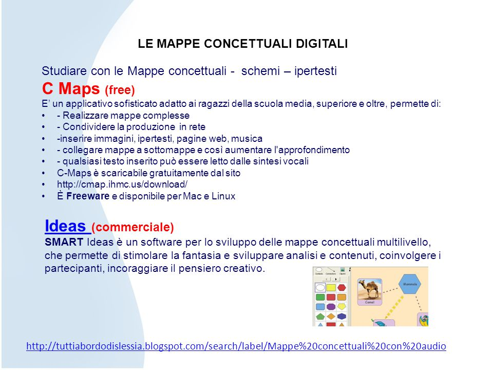 C Maps (free) Ideas (commerciale) LE MAPPE CONCETTUALI DIGITALI