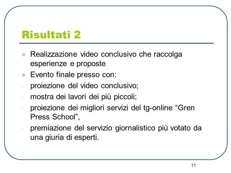 Risultati 2 Realizzazione video conclusivo che raccolga esperienze e proposte. Evento finale presso con: