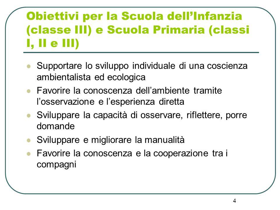 Obiettivi per la Scuola dell'Infanzia (classe III) e Scuola Primaria (classi I, II e III)