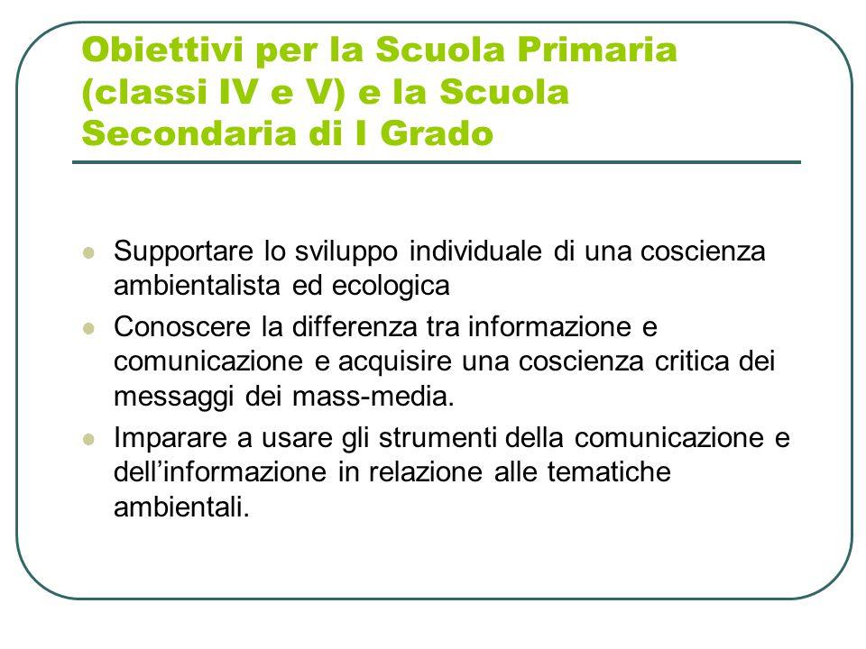 Obiettivi per la Scuola Primaria (classi IV e V) e la Scuola Secondaria di I Grado