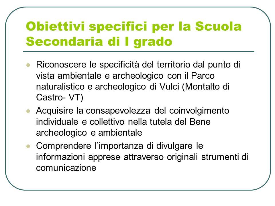 Obiettivi specifici per la Scuola Secondaria di I grado