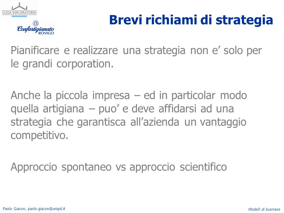 Brevi richiami di strategia