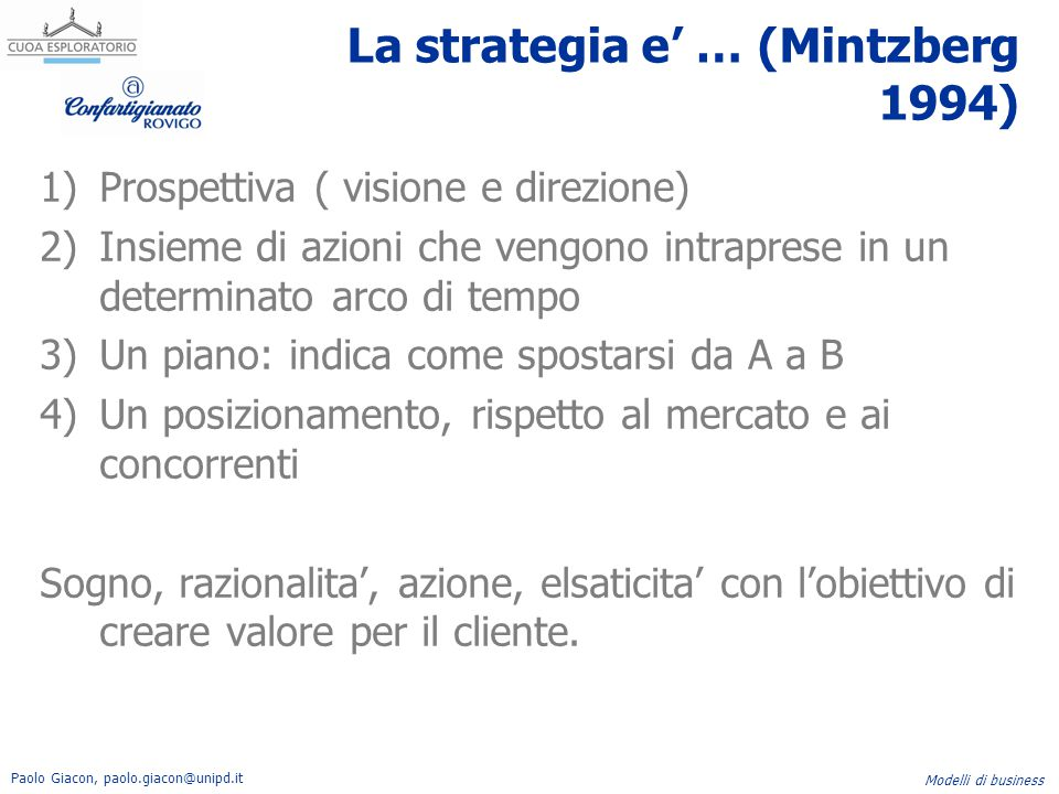 La strategia e' … (Mintzberg 1994)