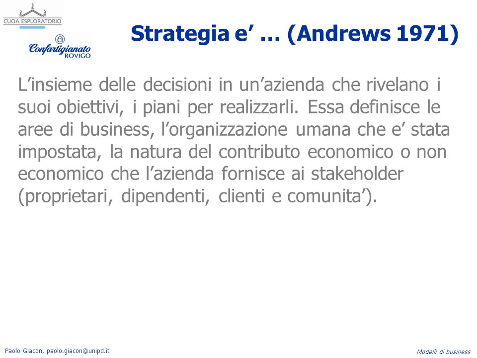Strategia e' … (Andrews 1971)