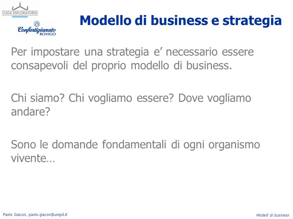 Modello di business e strategia