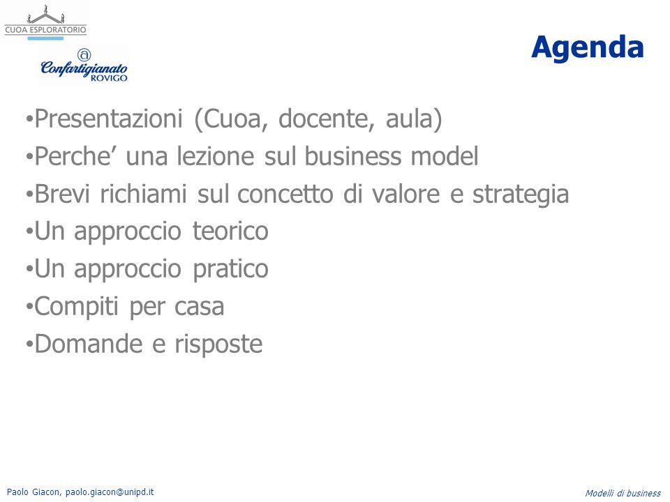 Agenda Presentazioni (Cuoa, docente, aula)