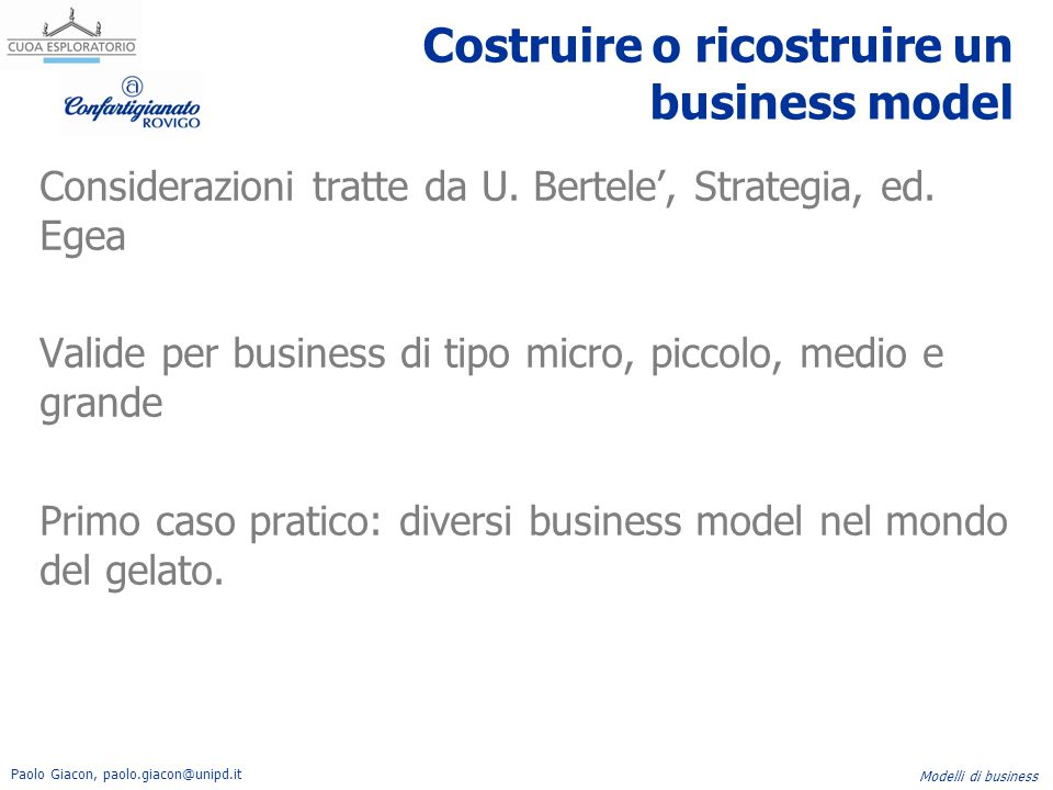 Costruire o ricostruire un business model