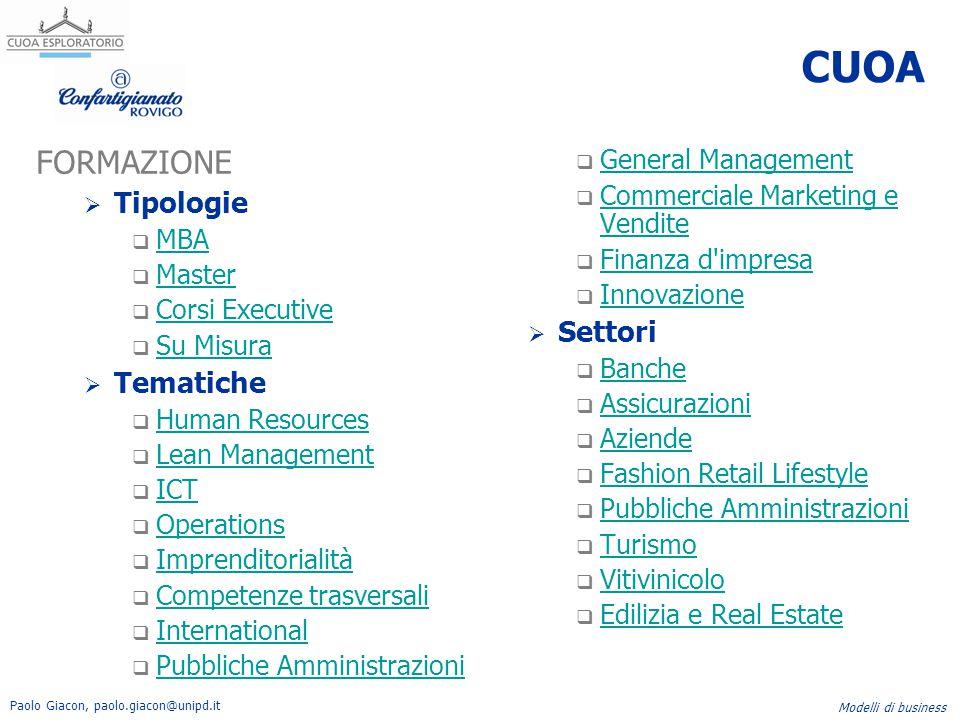 CUOA FORMAZIONE Tipologie Settori Tematiche General Management