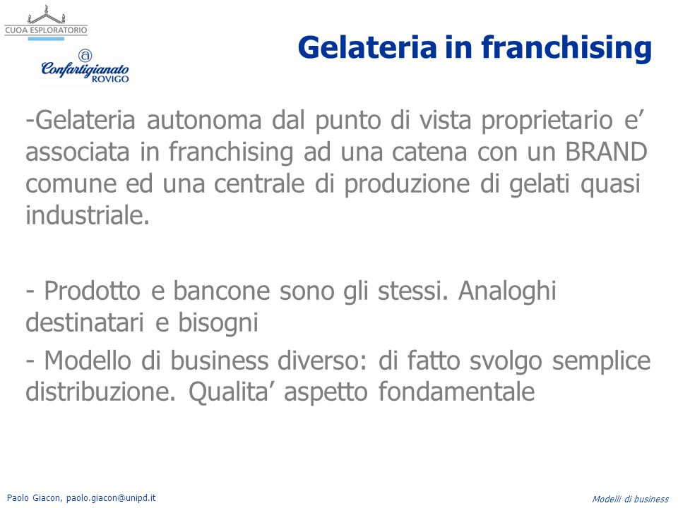 Gelateria in franchising