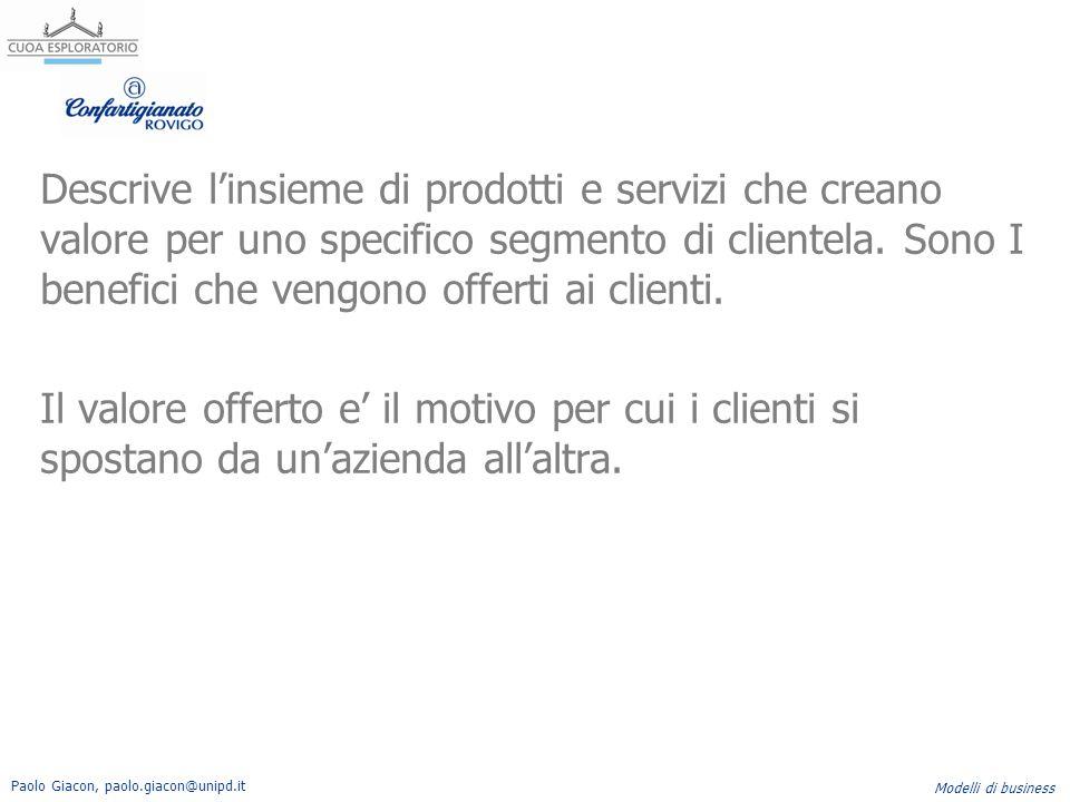 Descrive l'insieme di prodotti e servizi che creano valore per uno specifico segmento di clientela.