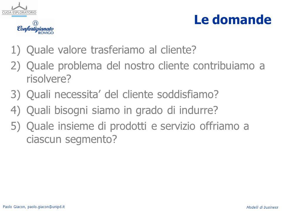 Le domande Quale valore trasferiamo al cliente