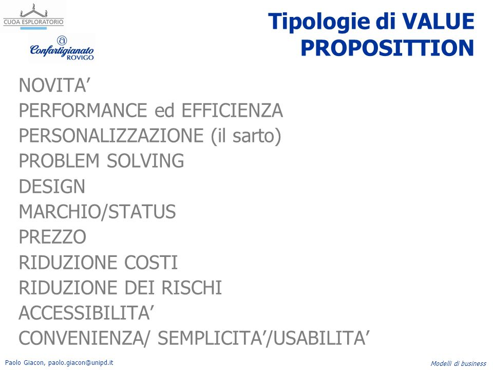 Tipologie di VALUE PROPOSITTION