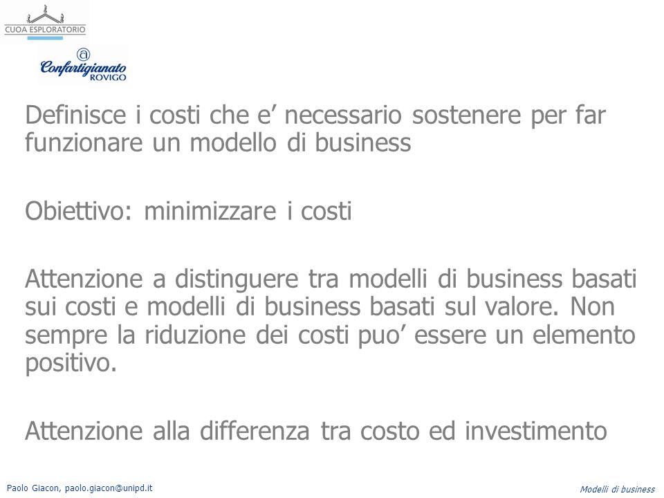Definisce i costi che e' necessario sostenere per far funzionare un modello di business Obiettivo: minimizzare i costi Attenzione a distinguere tra modelli di business basati sui costi e modelli di business basati sul valore.