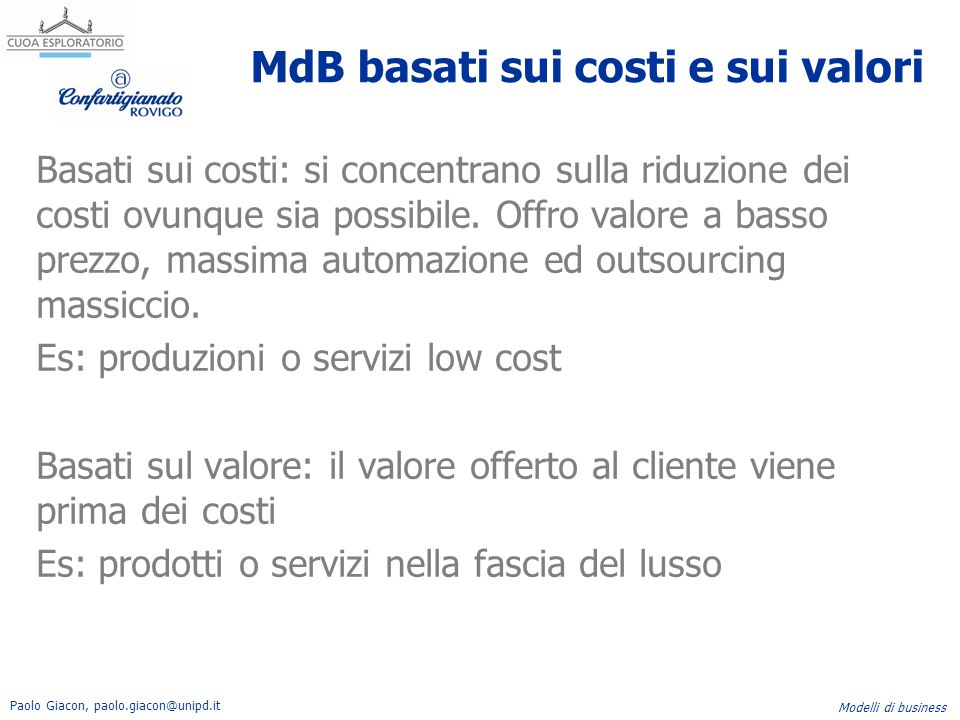 MdB basati sui costi e sui valori
