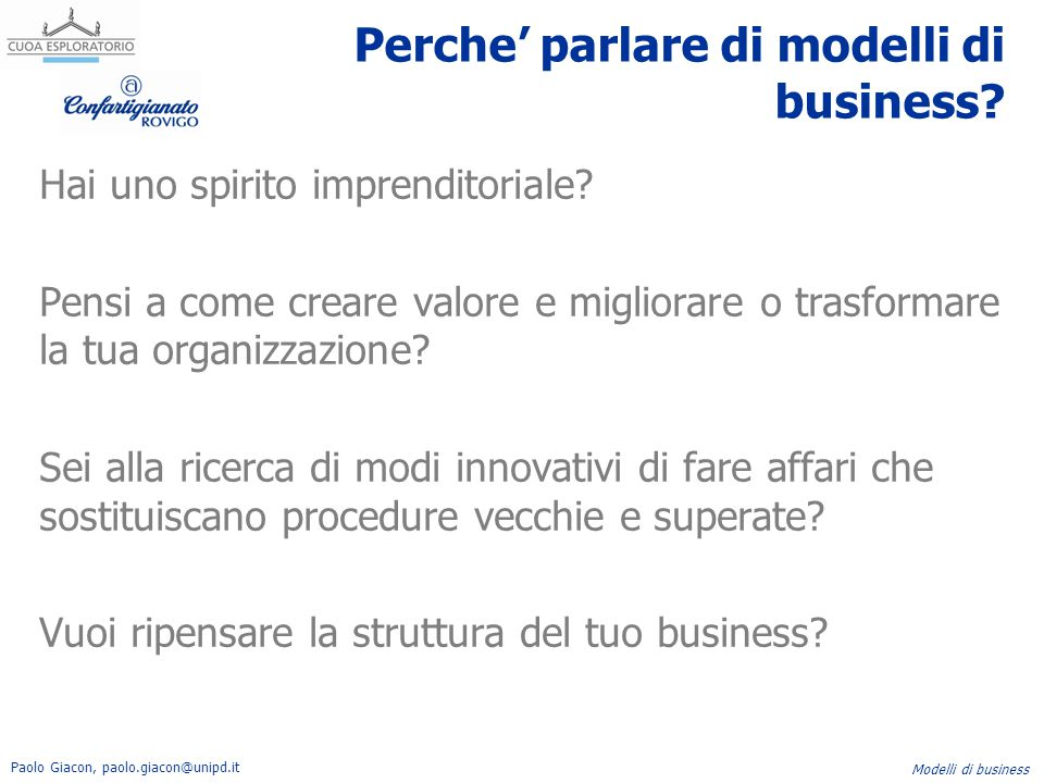 Perche' parlare di modelli di business