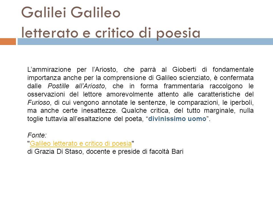Galilei Galileo letterato e critico di poesia